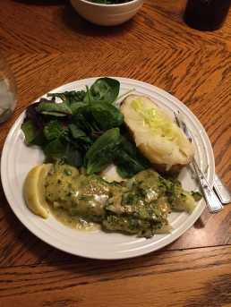 salad, cod with a lemon-herb sauce, baked potato with leeks