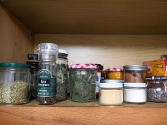 I buy most of my spices in bulk and store them in random containers. This could be more organized.